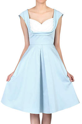 Jolie Moi Crossover Bust Retro Swing Dress, Blue