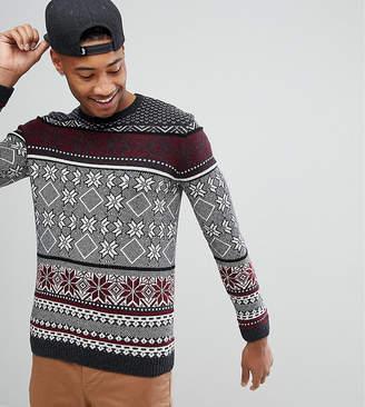 Asos DESIGN TALL Lambswool Fairisle Sweater In Charcoal