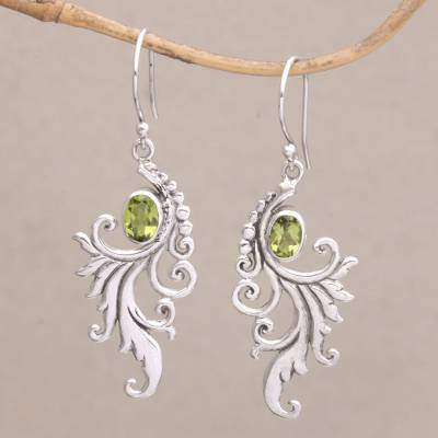By the Wind Peridot and Sterling Silver Dangle Earrings from Bali