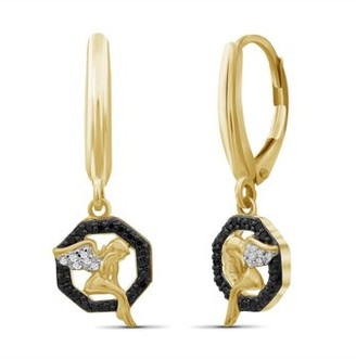 Jewelersclub JewelersClub 1/7 Carat T.W. Black And White Diamond 14K Gold Over Silver Angel Octagon Earrings