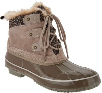 Khombu Suede Lace-Up Winter Boots w/ Faux Fur Details - Keri