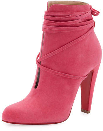 Christian Louboutin S.I.T. Rain Ankle-Wrap Red Sole Bootie, Pink
