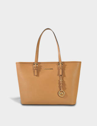 MICHAEL Michael Kors Jet Set Travel Top Zip Tote Bag in Acorn Saffiano Leather