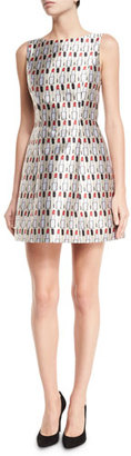 Alice + Olivia Lindsey Structured Cosmetics-Print Dress, Multicolor $465 thestylecure.com