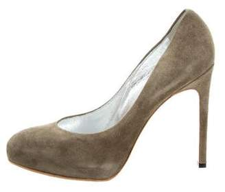 Bruno Frisoni Suede Round-Toe Pumps
