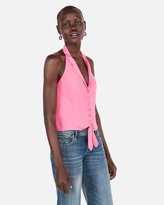 Express Halter Tie Front Sleeveless Shirt