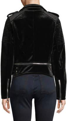 P. Luca Quilted Velvet Moto-Style Bomber Jacket