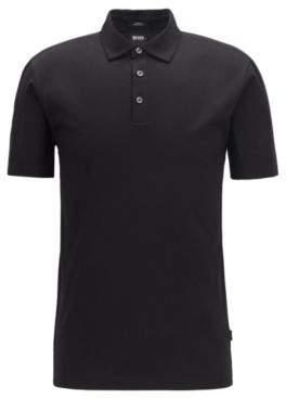 BOSS Hugo Slim-fit polo shirt Italian-velvet sleeve inserts M Black