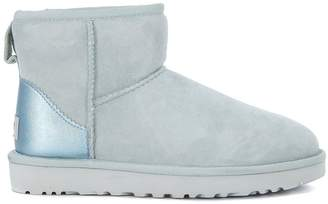 UGG Classic Mini Sheepskin Ankle Boots In Light-blue Metal Leather