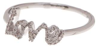 Meira T 14K White Gold Crystal Accent Love Ring - Size 7