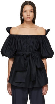 Stella McCartney Navy Poplin Off-the-Shoulder Blouse