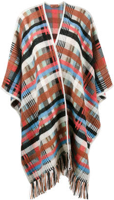 Missoni check fringed cape