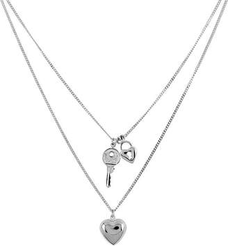 "Sterling 18"" Polished Heart, Lock, & Key Necklace"