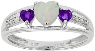 JCPenney FINE JEWELRY Lab-Created Opal & Genuine Amethyst Heart-Shaped Sterling Silver Ring