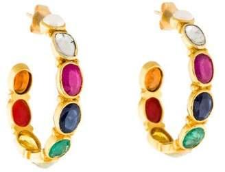 Amrapali 18K Pearl, Coral, & Multistone Hoop Earrings