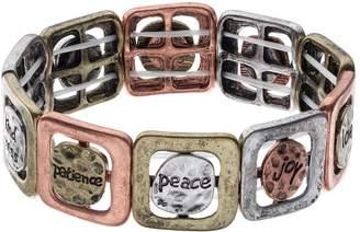 Believe In Inspirational Inscriptions Tri Tone Stretch Bracelet