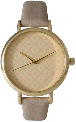 OLIVIA PRATT Olivia Pratt Womens Checkered Dial Gray Petite Leather Watch 14543