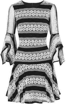 Badgley Mischka Two-Tone Corded Lace Mini Dress