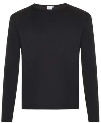Sunspel Long Sleeved Cotton Jersey T Shirt - Mens - Black