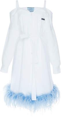 Prada Cold-Shoulder Poplin Shirt Dress Size: 46