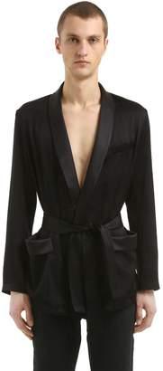Saint Laurent Ramage Dressing Gown Style Satin Jacket