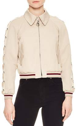 Sandro Lot Lace-Up Sleeve Bomber Jacket