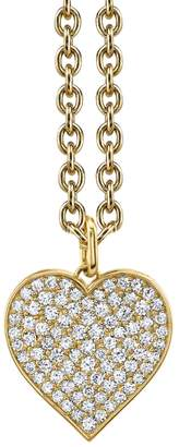 Sydney Evan Extra Large Pavé Heart On Tiny Oval Chain Necklace - Yellow Gold
