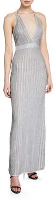 Herve Leger Deep-V Shimmer Gown