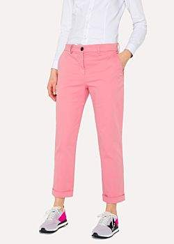 Paul Smith Women's Pink Brushed Cotton-Stretch Chinos