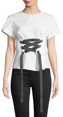 philosophy Corset-Tied Short-Sleeve Blouse