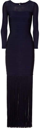 Herve Leger Fringed Tulle-paneled Bandage Gown - Navy