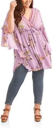 Romantic Gypsy Women's Plus Floral Print Kimono Sleeve Kaftan Dress