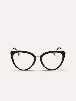 Blue Lens Glasses with Cat-Eye Frame