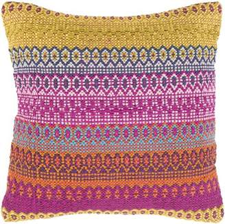 "Art of Knot Norstram Decorative Throw Pillow Cover, 20"" x 20"", Green/Pink"