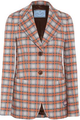 Prada Checked Jacquard-knit Blazer - Orange
