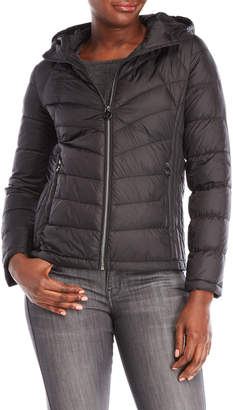 Michael Kors Michael By Petite Quilted Hooded Down Coat