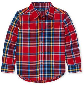 Ralph Lauren Childrenswear Twill Plaid Button-Down Shirt, Size 2-4