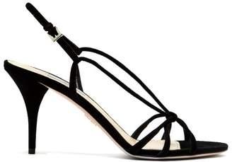 Prada Slingback Suede Sandals - Womens - Black