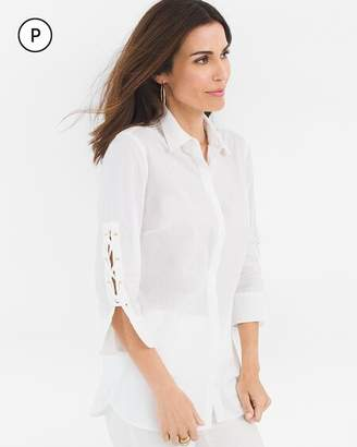 Chico's Chicos Petite Lace-Up Sleeve Shirt