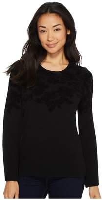 Ellen Tracy Flared Sleeve Flocked Sweater Women's Sweater