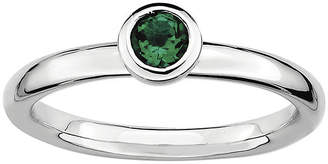 JCPenney FINE JEWELRY Personally Stackable 4mm Round Lab-Created Emerald Ring