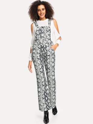 cd73142395f Shein Snake Skin Print Flare Leg Denim Jumpsuit