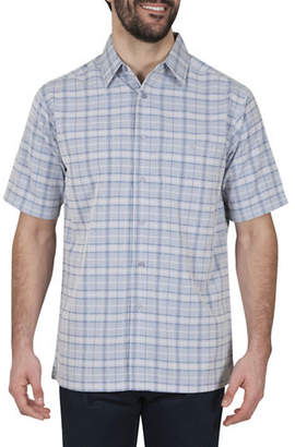 Haggar Plaid Short-Sleeve Microfiber Sport Shirt