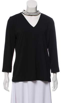 Karl Lagerfeld Faux Pearl-Trimmed Long Sleeve Top w/ Tags
