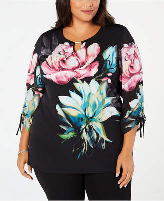 JM Collection Plus Size Embellished Chiffon Top