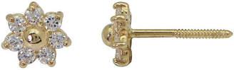 JCPenney FINE JEWELRY Girls 14K Yellow Gold Cubic Zirconia Flower Stud Earrings