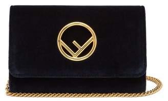 Fendi Kan I Logo Velvet Cross Body Bag - Womens - Navy