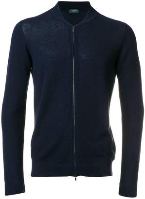 Zanone slim fit zip cardigan