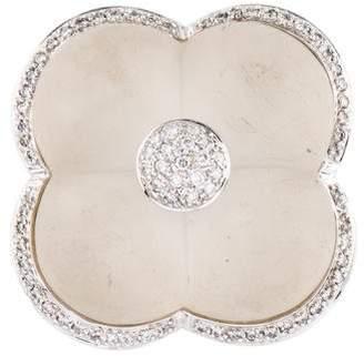 14K Quartz Doublet & Diamond Clover Brooch Pendant