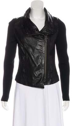 Vince Leather Knit-Trimmed Jacket